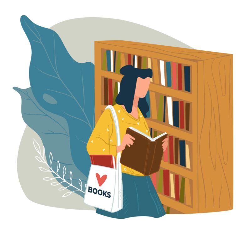 紙の本を借りるイメージ